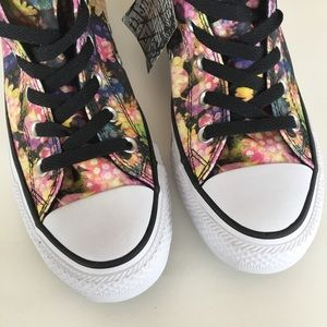 NEW CONVERSE pink black floral high top sneaker 7